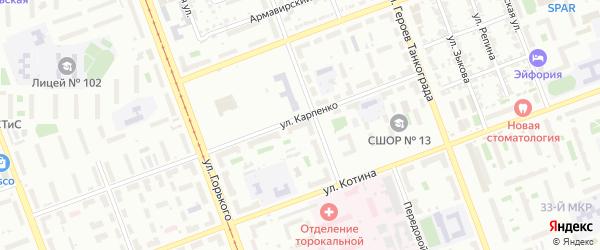 Территория ГСК 406 филиал по ул Карпенко 15 на карте Челябинска с номерами домов