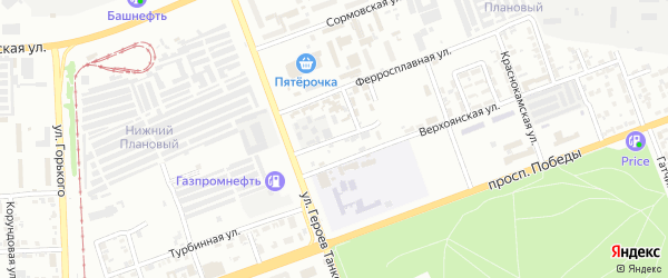 Ужгородский переулок на карте Челябинска с номерами домов