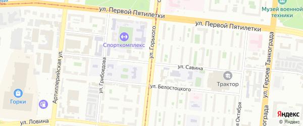 Улица Савина на карте Челябинска с номерами домов