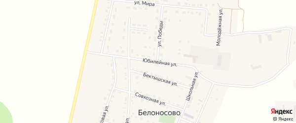 Юбилейная улица на карте поселка Белоносово с номерами домов