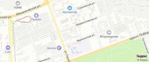 Ферросплавный 2-й переулок на карте Челябинска с номерами домов