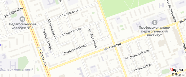 Улица Тургенева на карте Челябинска с номерами домов