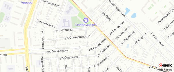Улица Станиславского на карте Челябинска с номерами домов