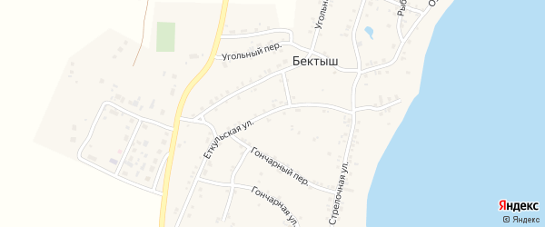 Еткульская улица на карте поселка Бектыша с номерами домов