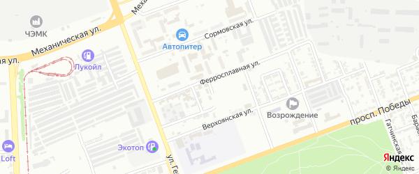 Ферросплавный 1-й переулок на карте Челябинска с номерами домов