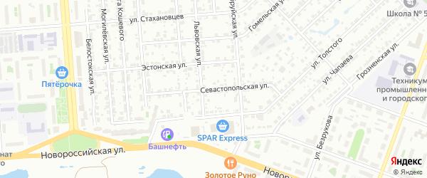 Севастопольская улица на карте Челябинска с номерами домов
