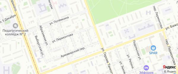 Переулок Успенского на карте Челябинска с номерами домов