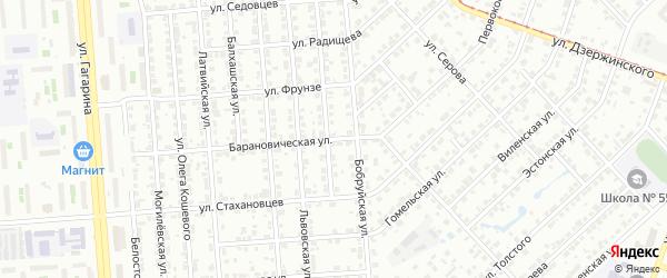 Барановичская улица на карте Челябинска с номерами домов