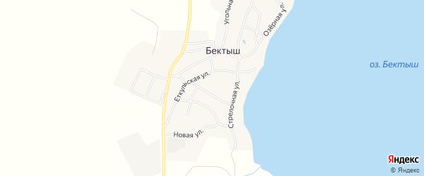 Карта поселка Бектыша в Челябинской области с улицами и номерами домов