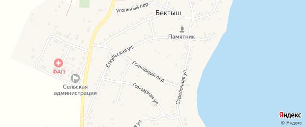 Угольный переулок на карте поселка Бектыша с номерами домов