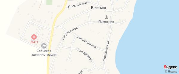 Водяной переулок на карте поселка Бектыша с номерами домов