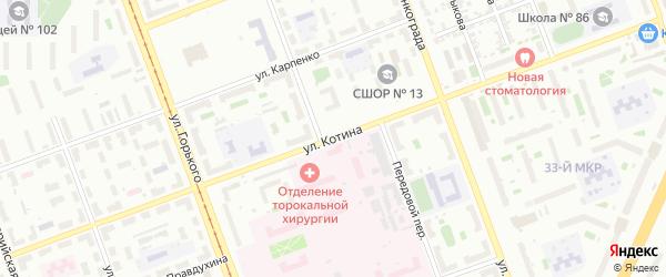 Улица Котина на карте Челябинска с номерами домов
