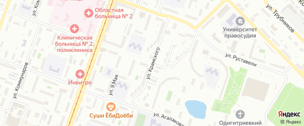 Улица Крамского на карте Челябинска с номерами домов