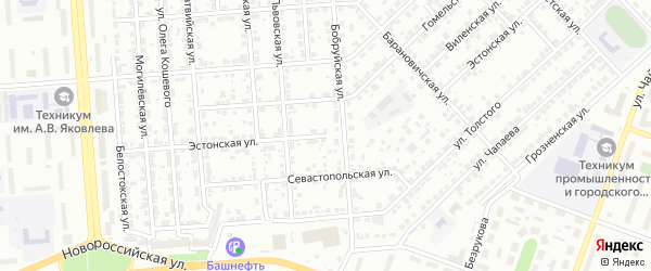 Эстонская улица на карте Челябинска с номерами домов