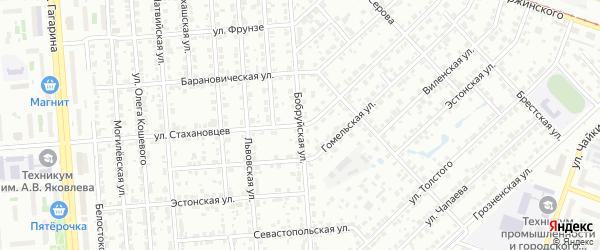 Бобруйская улица на карте Челябинска с номерами домов