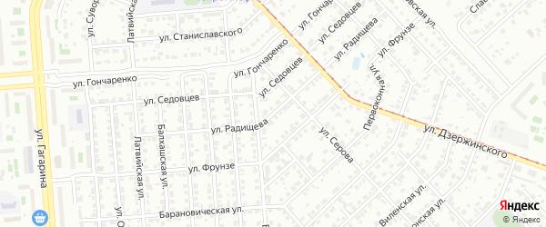 Улица Радищева на карте Челябинска с номерами домов