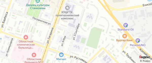 Улица 3 Сентября на карте Челябинска с номерами домов