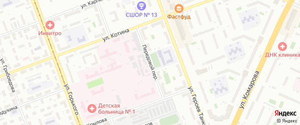 Передовой переулок на карте Челябинска с номерами домов