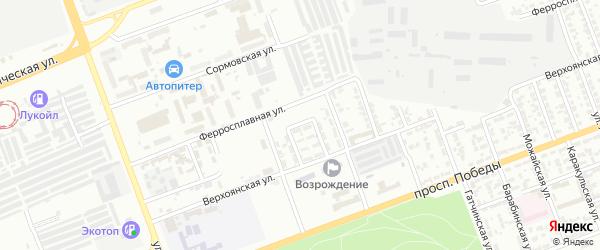 Верхоянский 5-й переулок на карте Челябинска с номерами домов
