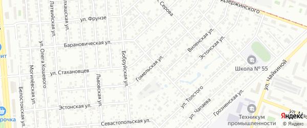 Гомельская улица на карте Челябинска с номерами домов