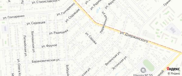 Улица Серова на карте Челябинска с номерами домов