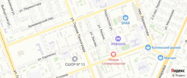 Улица Зыкова на карте Челябинска с номерами домов