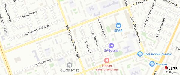 Мурманский переулок на карте Челябинска с номерами домов