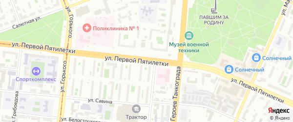 Водосточная 1-я улица на карте Челябинска с номерами домов