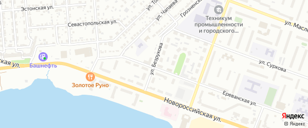 Улица Безрукова на карте Челябинска с номерами домов