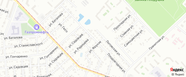 Плодоягодная улица на карте Челябинска с номерами домов