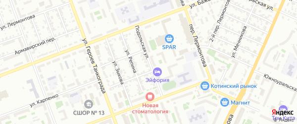 Подольская улица на карте Челябинска с номерами домов