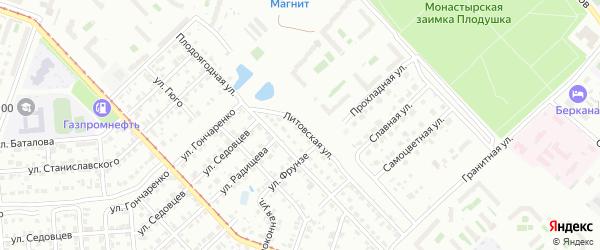 Литовская улица на карте Челябинска с номерами домов