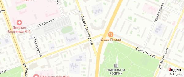 Салютная улица на карте Челябинска с номерами домов