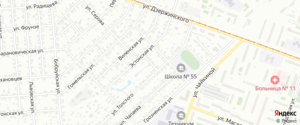 Цветущая улица на карте Челябинска с номерами домов