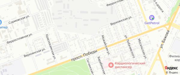 Карталинский переулок на карте Челябинска с номерами домов