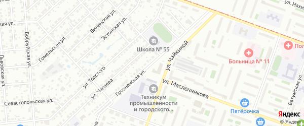 Грозненская улица на карте Челябинска с номерами домов