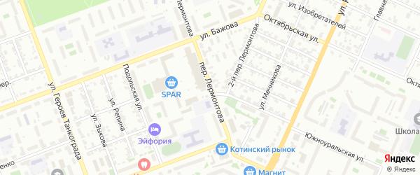 Лермонтова 1-й переулок на карте Челябинска с номерами домов