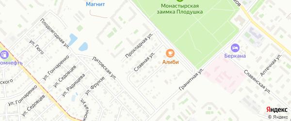 Славная улица на карте Челябинска с номерами домов