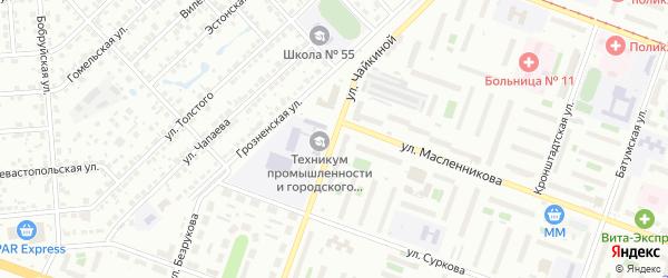 Улица Чайкиной на карте Челябинска с номерами домов