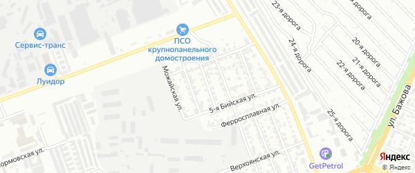 Бийская 2-я улица на карте Челябинска с номерами домов