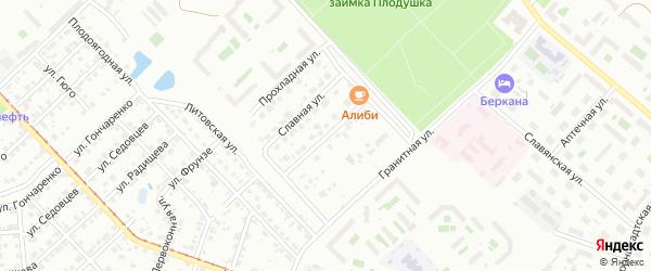 Самоцветная улица на карте Челябинска с номерами домов