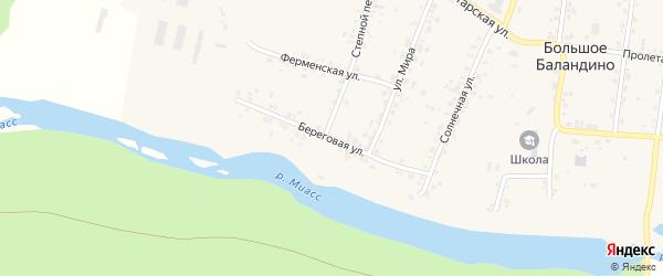 Береговая улица на карте села Большое Баландино с номерами домов