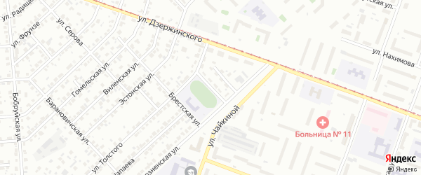 Брестский 1-й переулок на карте Челябинска с номерами домов