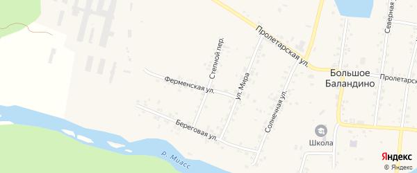 Степной переулок на карте села Большое Баландино с номерами домов