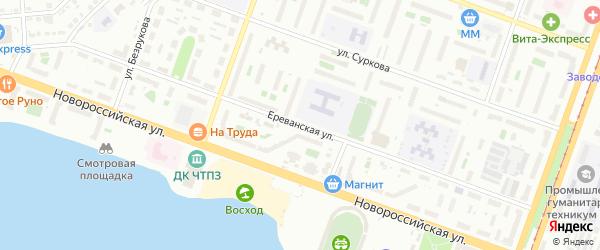 Ереванская улица на карте Челябинска с номерами домов