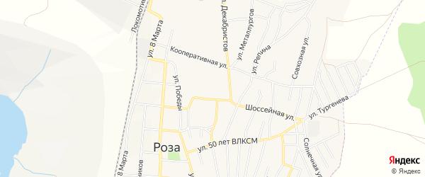 СТ Шахтер на карте поселка Розы с номерами домов