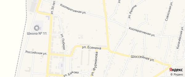 Курганский переулок на карте поселка Розы с номерами домов