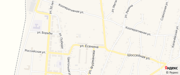 Улица 16 Квартал на карте поселка Розы с номерами домов