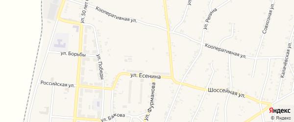 Кооперативный переулок на карте поселка Розы с номерами домов