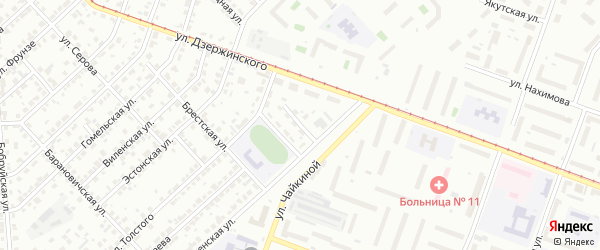 Брестский 2-й переулок на карте Челябинска с номерами домов